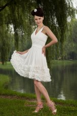 White Empire V-neck Prom / Homecoming Dress Chiffon Ruch Mini-length  Cocktail Dress