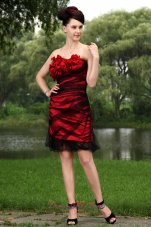 Red Column Strapless Prom / Homecoming Dress Tulle Hand Made Flowers Mini-length  Cocktail Dress