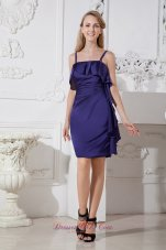 Purple Column Spaghetti Straps Cocktail Dress Elastic Wove Satin Mini-length  Cocktail Dress