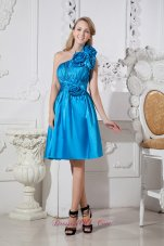 Sky Blue A-line One Shoulder Short Prom Dress Taffeta Hand Made Flowers Knee-length  Cocktail Dress