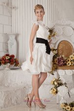 White A-line One Shoulder Short Graduation Dress Organza Sash and Bows Mini-length