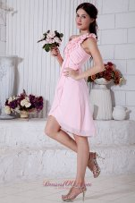 Pink Empire One Shoulder Short Prom / Homecoming Dress Chiffon Hand Made Flowers Mini-length  Cocktail Dress