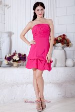 Hot Pink A-line Strapless Cocktail Dress Taffeta Ruch Mini-length  Cocktail Dress