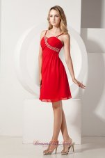 Red A-line Spaghetti Straps Prom / Homecoming Dress Knee-length Beading Chiffon  Cocktail Dress