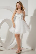 White A-line / Princess Straps Beading Short Prom / Homecoming Dress Mini-length Organza  Cocktail Dress