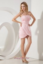 Pink Column Straps Short Prom / Homecoming Dress Mini-length Taffeta Ruch  Cocktail Dress
