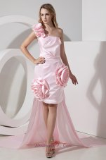 Baby Pink One Shoulder Detachable Hi-Lo Prom Dress Hand Made Flowers  Cocktail Dress