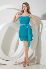 Teal Column Spaghetti Straps Beading and Bow Short Prom Dress Mini-length Organza  Cocktail Dress