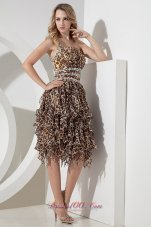 Sexy Empire One Shoulder Beading Short Prom Dress Tea-length Leopard  Cocktail Dress