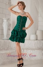 Green Column / Sheath Sweetheart Knee-length Taffeta Beading Prom / Homecoming Dress  Cocktail Dress