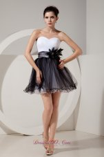 Glamorous Black and White Short Prom Dress A-line / Princess Sweetheart Mini-length Tulle Hand Made Flowers  Cocktail Dress