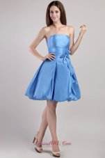 Blue A-line Strapless Mini-length Taffeta Prom / Homecoming Dress  Cocktail Dress