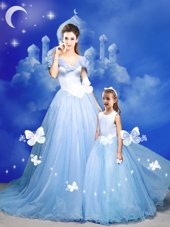 Comfortable Off the Shoulder Sleeveless Court Train Beading and Bowknot and Hand Made Flower Zipper Quince Ball Gowns