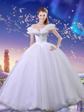 Cinderella Off the Shoulder White Ball Gowns Beading and Bowknot Sweet 16 Dress Lace Up Tulle Sleeveless Floor Length