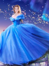Cinderella Off the Shoulder Beading and Bowknot Sweet 16 Dress Royal Blue Lace Up Sleeveless Floor Length