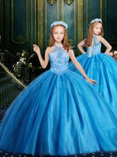 Halter Top Floor Length Lace Up Child Pageant Dress Aqua Blue and In for Party and Wedding Party with Beading and Sequins