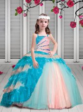 Elegant Multi-color Spaghetti Straps Lace Up Beading and Ruffles Little Girls Pageant Dress Sleeveless