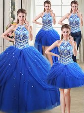 Four Piece Royal Blue Ball Gowns Halter Top Sleeveless Tulle Floor Length Lace Up Beading and Pick Ups 15 Quinceanera Dress