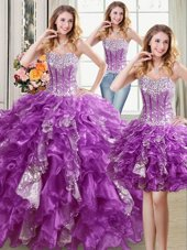 Three Piece Sleeveless Lace Up Floor Length Beading and Ruffles and Sequins Quinceanera Dress