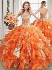 Four Piece Sleeveless Lace Up Floor Length Beading and Ruffles and Sequins 15 Quinceanera Dress