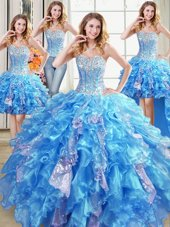 Noble Four Piece Baby Blue Ball Gowns Beading and Ruffles and Sequins Quinceanera Dress Lace Up Organza Sleeveless Floor Length