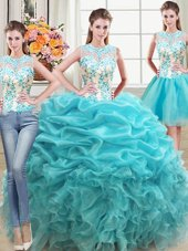 On Sale Three Piece Scoop Sleeveless Vestidos de Quinceanera Floor Length Beading and Ruffles Aqua Blue Organza
