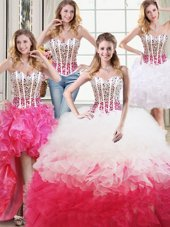 Four Piece White and Red Sweet 16 Dresses Military Ball and Sweet 16 and Quinceanera and For with Beading and Ruffles Sweetheart Sleeveless Lace Up