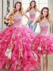 Three Piece Sleeveless Beading and Ruffles and Sequins Lace Up 15 Quinceanera Dress