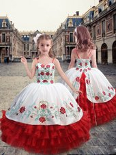 Fine White and Red Ball Gowns Organza Straps Sleeveless Embroidery and Ruffles Floor Length Lace Up Kids Pageant Dress