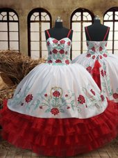 Fashion White and Red Spaghetti Straps Neckline Embroidery and Ruffled Layers Flower Girl Dresses for Less Sleeveless Lace Up