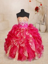 Sleeveless Floor Length Beading and Ruffles Lace Up Toddler Flower Girl Dress with Red