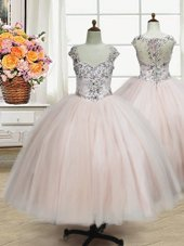 Pink Flower Girl Dresses Quinceanera and Wedding Party and For with Beading Straps Cap Sleeves Zipper