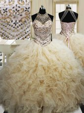 Charming Halter Top Sleeveless Lace Up Sweet 16 Dresses Champagne Tulle