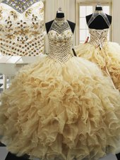Tulle Sleeveless With Train Quinceanera Gowns Sweep Train and Beading and Ruffles