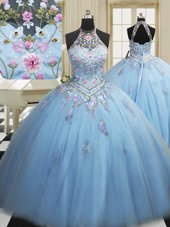 Perfect Floor Length Ball Gowns Sleeveless Light Blue Quinceanera Gown Lace Up