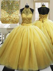 Romantic Yellow Ball Gowns Beading Quince Ball Gowns Lace Up Tulle Sleeveless With Train