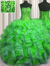 Most Popular See Through Back Sequins Ball Gowns Quince Ball Gowns Green Straps Organza Sleeveless Floor Length Zipper