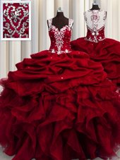 See Through Wine Red Organza Zipper Straps Sleeveless Floor Length Quinceanera Gown Beading and Ruffles and Sequins