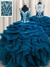 Zipple Up See Through Back Teal Quinceanera Dresses Military Ball and Sweet 16 and Quinceanera and For with Beading and Ruffles and Sequins and Pick Ups Straps Sleeveless Zipper