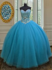 Customized Teal Tulle Lace Up 15 Quinceanera Dress Sleeveless Floor Length Beading