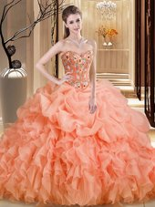 Enchanting Scoop Sleeveless Tulle Quince Ball Gowns Embroidery and Ruffles Brush Train Zipper