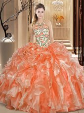 Delicate Orange Scoop Neckline Embroidery and Ruffles Vestidos de Quinceanera Sleeveless Backless