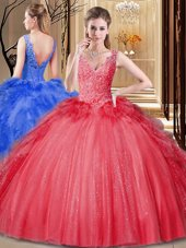 Dazzling Scoop Coral Red Organza Backless Sweet 16 Dress Sleeveless Floor Length Embroidery and Ruffles