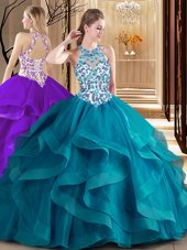 Brush Train Ball Gowns Quinceanera Dress Teal Scoop Tulle Sleeveless Lace Up