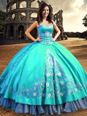 Free and Easy Sleeveless Lace Up Floor Length Embroidery Sweet 16 Quinceanera Dress