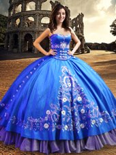 One Shoulder Royal Blue Satin Lace Up Sweet 16 Quinceanera Dress Sleeveless Floor Length Lace and Embroidery