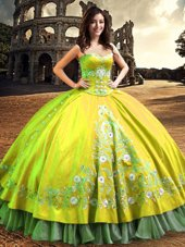 One Shoulder Floor Length Lace Up Quinceanera Dresses Yellow Green and In for Military Ball and Sweet 16 and Quinceanera with Lace and Embroidery
