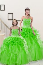 Ball Gowns Sweetheart Sleeveless Organza Floor Length Lace Up Beading and Pick Ups Quinceanera Gown