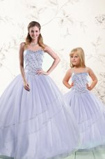 Beading and Pick Ups 15 Quinceanera Dress Blue Lace Up Sleeveless Floor Length