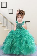 Fabulous Turquoise Sleeveless Organza Lace Up Little Girls Pageant Dress for Military Ball and Sweet 16 and Quinceanera